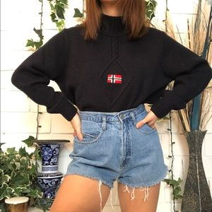 Vintage Norwegian flag knit mock neck sweater